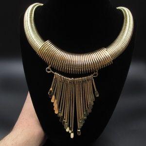 Jewelry - Vintage 25 Inch Stylish Large Gold Tone Necklace